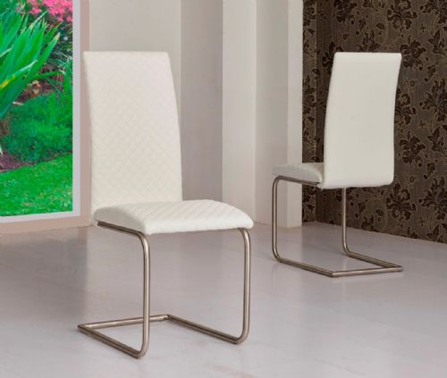 Mulliner Classic Diamond Stitch Brushed Steel Base Dining Chair - White
